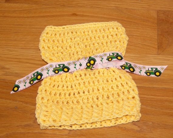 Sack, Sleeve, Bag Hat with Yellow Cotton Yarn with Pink and Green John Deere Ribbon & FREE SHIPPING