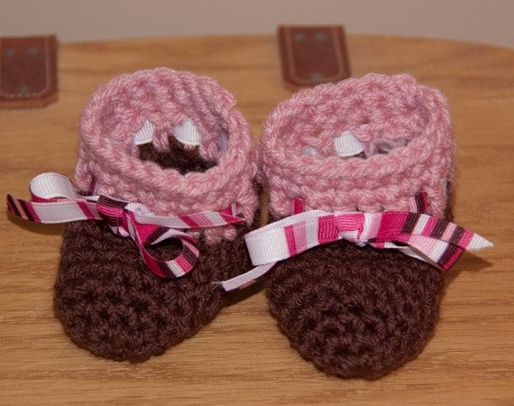 Brown and Rose Pink Pink Boot Booties with Striped Ribbon Accents FREE SHIPPING