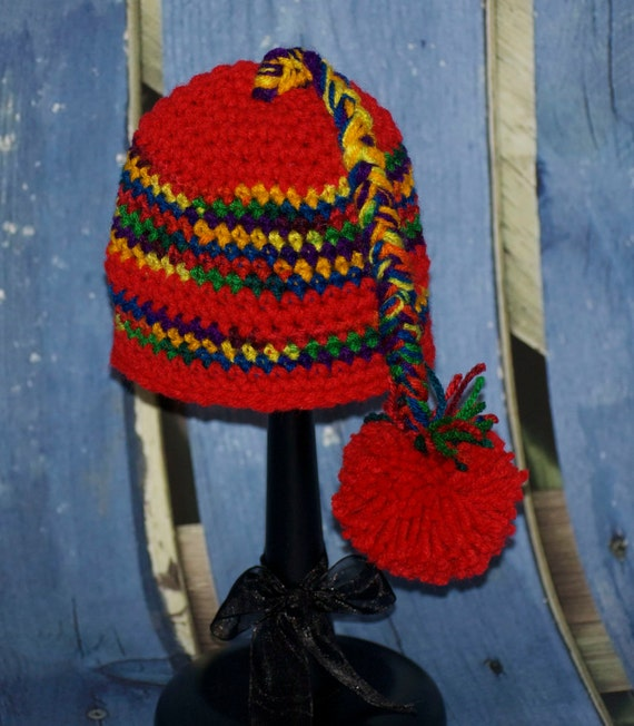 Red Cap with Variegated Stripes, long Braid and Pom Pom FREE SHIPPING