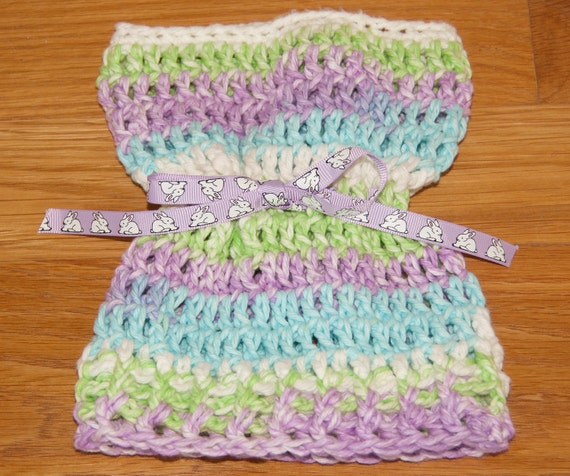 Sack, Sleeve, Bag Hat with Violet, Lime and Aqua Cotton Yarn with Bunny Rabbit Ribbon & FREE SHIPPING