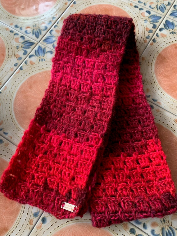 Red Amazing Lion Brand Yarn (now discontinued) Scarf and Hat Set. FREE SHIPPING.