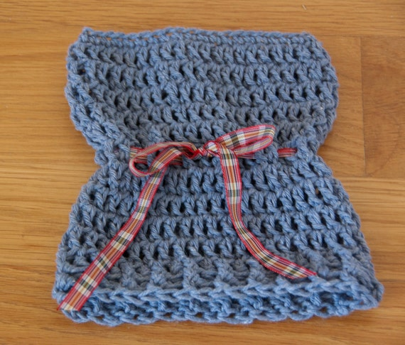 Sack, Sleeve, Bag Hat with Med Blue Cotton Yarn with Plaid Ribbon & FREE SHIPPING
