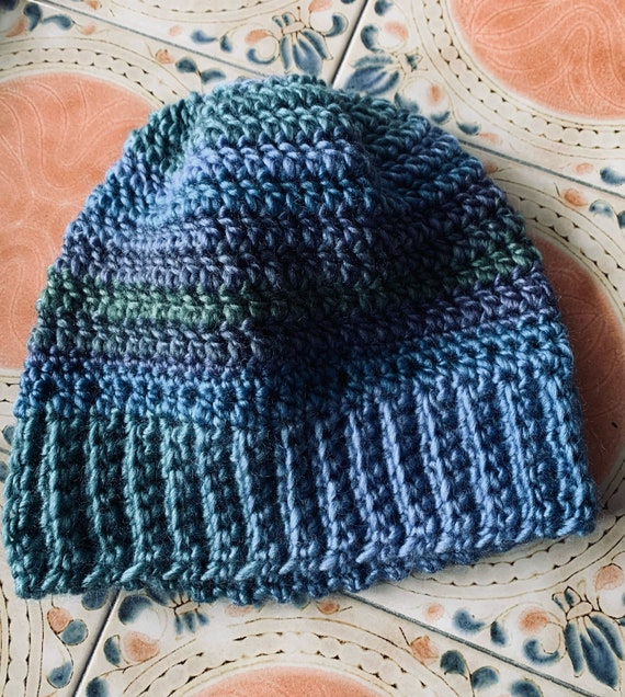 Unique Design Cowl and Hat Set made with Blue, Lavender, and Green Wool Blend SOFT Yarn with FREE SHIPPING