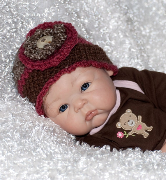 Taupe, Dark Rose and Brown Hat with Crocheted Flower and Bone Button FREE SHIPPING