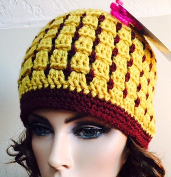 Stained glass look hat with gold and burgundy from soft worsted—FREE Shipping
