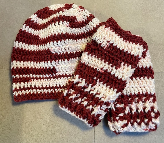Crimson/Red and Creme/WhiteHat/Beanie with Fingerless Mittens. FREE SHIPPING.
