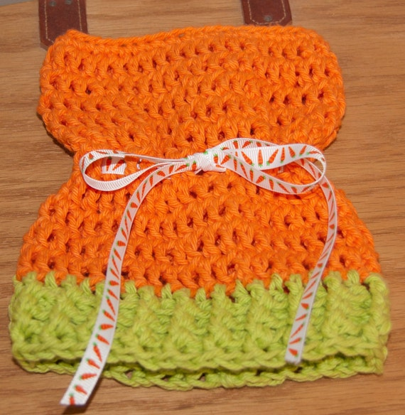 Sack, Sleeve, Bag Hats with  Lime and Orange Cotton Yarn with Carrot Ribbon & FREE SHIPPING