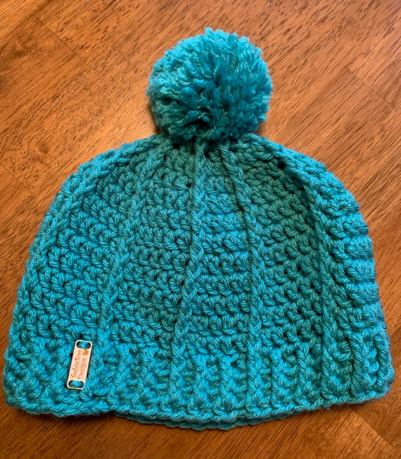 Child's Teal Pom Hat/Cap with a Ribbed Band. FREE SHIPPING!