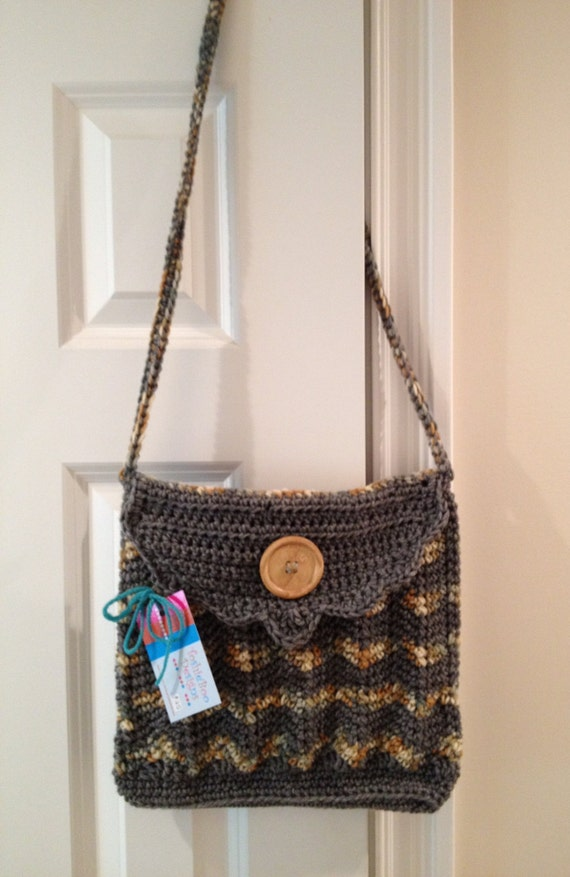 Beautiful Chevron Messenger-Style Purse Crocheted in Worsted Yarn — FREE Shipping —Reduced