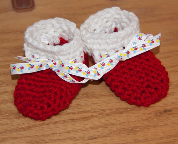 Red and White Boot Booties with Decorative Ribbon Accents FREE SHIPPING