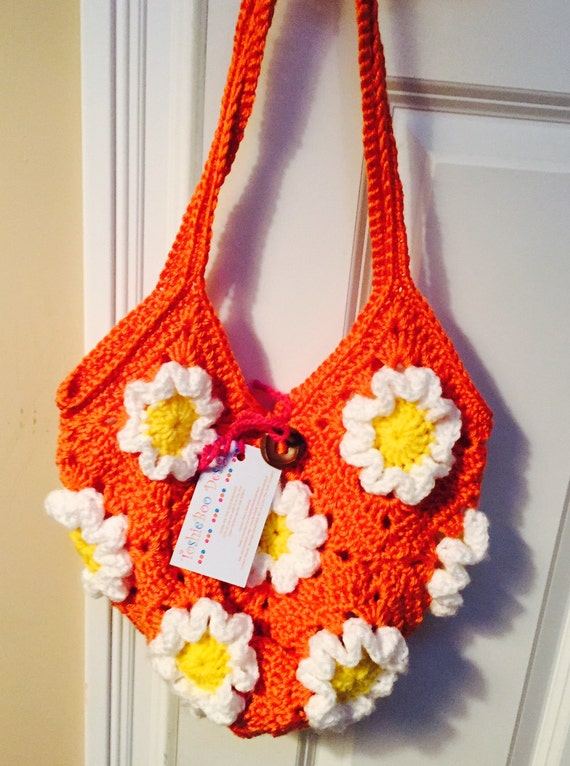 Vintage-Inspired Purse Crocheted in Orange with Raised White Flowers with Yellow Centers