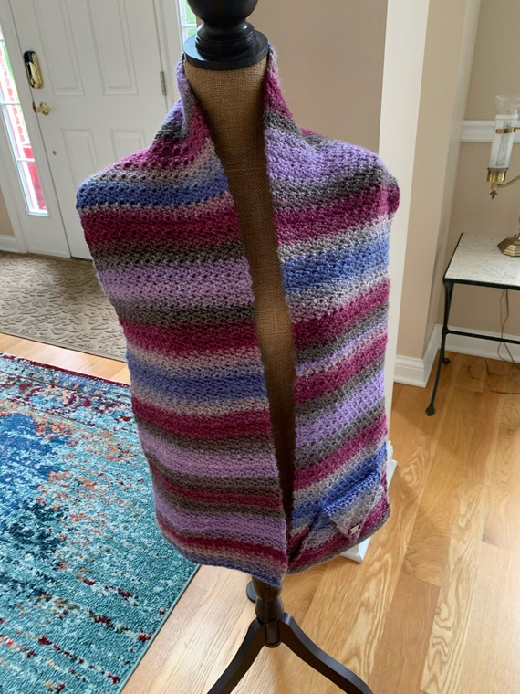 LONG shawl/scarf with a pocket. Beautiful texture. The color is amazing. FREE SHIPPING.