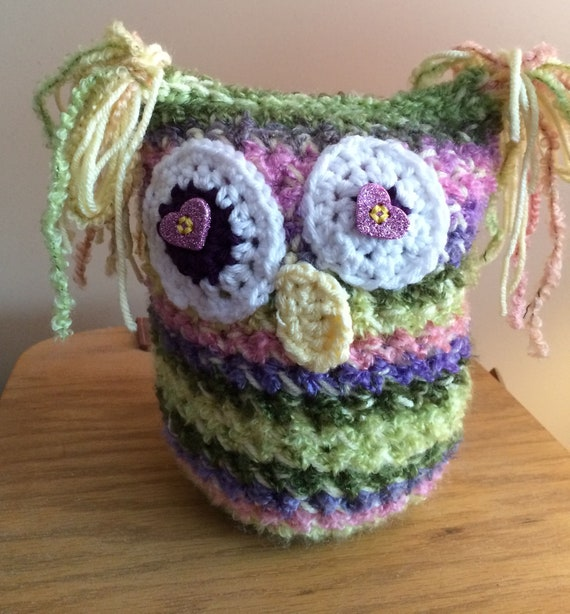 Kooky Owl in purple, green, pink and yellow fuzzy bulky yarn with glitter star button eyes