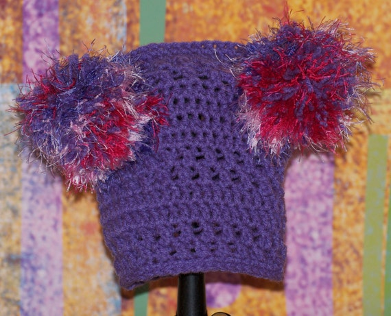 Purple unique pattern hat with two fun fur pom poms FREE SHIPPING