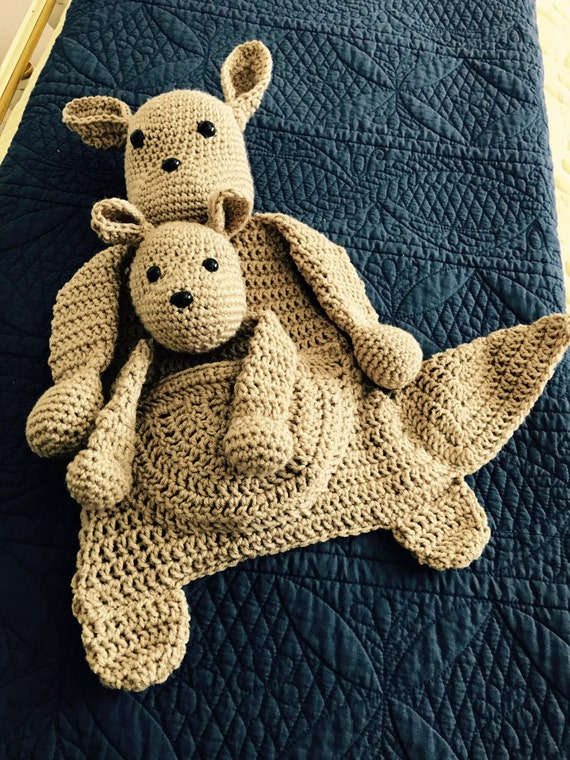 Tan Kangaroo Mama and Baby Rag Doll Toy/Lovey