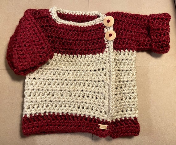 Chunky Cream and Crimson 6-12 month Baby Wrap Sweater. FREE SHIPPING