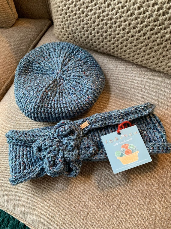Beautiful and Unique Blue Tweed Ribbed Beret Hat and Cowl SET with a Crocheted Flower FREE SHIPPING
