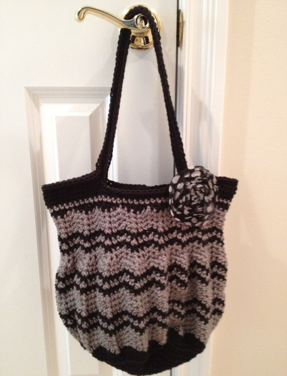 Chevron Purse Crocheted in Soft Worsted in Grey & Black with Shabby Polka Dot Clip/Pin—FREE Shipping