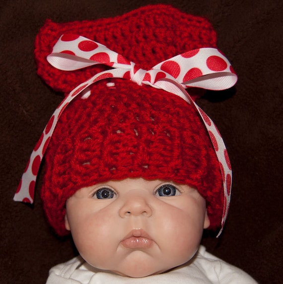 Sack, Sleeve, Bag Hat with Red Worsted Yarn with Red and White Polka Dot Ribbon & FREE SHIPPING