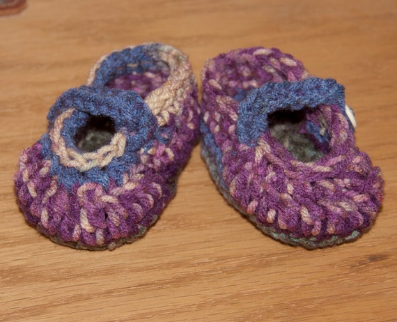 Baby Mary Jane Booties in Violets, Blues, and Greens with Cream Buttons FREE SHIPPING