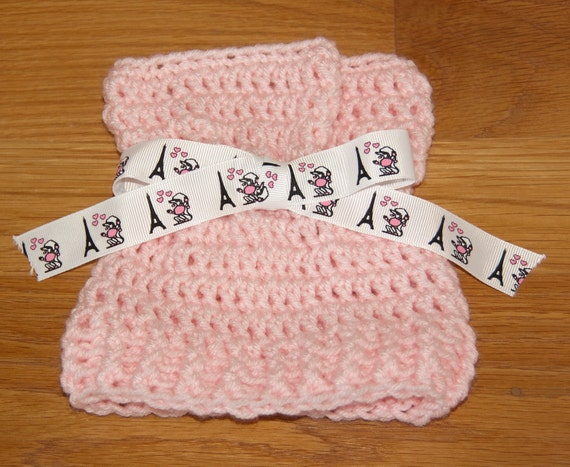 Sack, Sleeve, Bag Hat with Pale Pink Worsted Yarn with Eiffel Tower and Poodle Ribbon & FREE SHIPPING