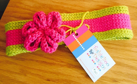 Hot Pink and Lime Ear Warmer with crocheted pink flower, and bling button on back—FREE Shipping