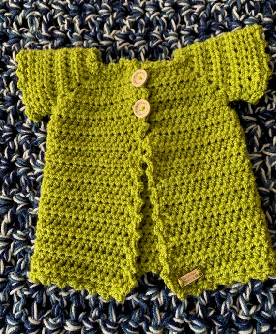 Celery Green Fancy, Longer, Baby Sweather size 0-6. FREE SHIPPING.