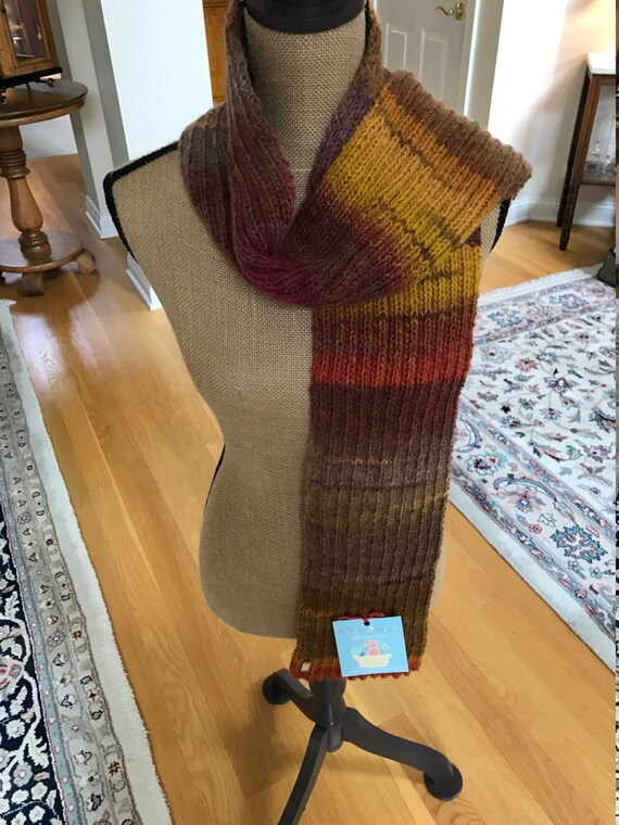 Hand Knit Long Scarf—MESA Amazing Yarn—FREE Shipping