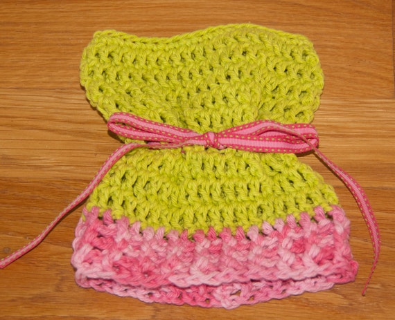 Sack, Sleeve, Bag Hat with Lime and Scented Pink Variegated Cotton Yarn and Pink and Green Ribbon & FREE SHIPPING