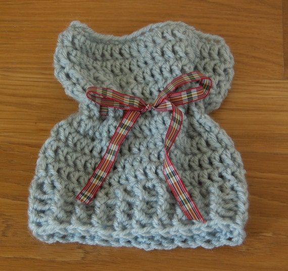 Sack, Sleeve, Bag Hat with Soft Blue Worsted Yarn with Plaid Ribbon & FREE SHIPPING