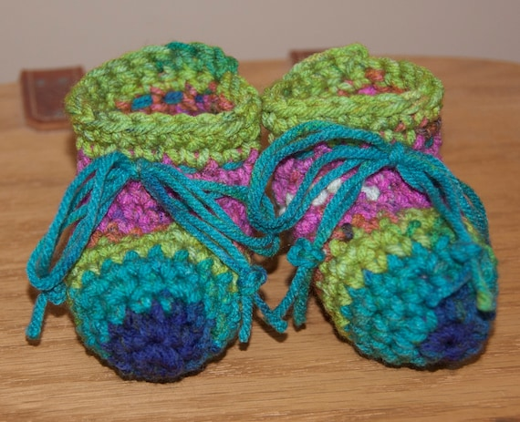 Lime, Aqua, Blue and Hot Pink Striped Boot Booties with String Bow Ties FREE SHIPPING
