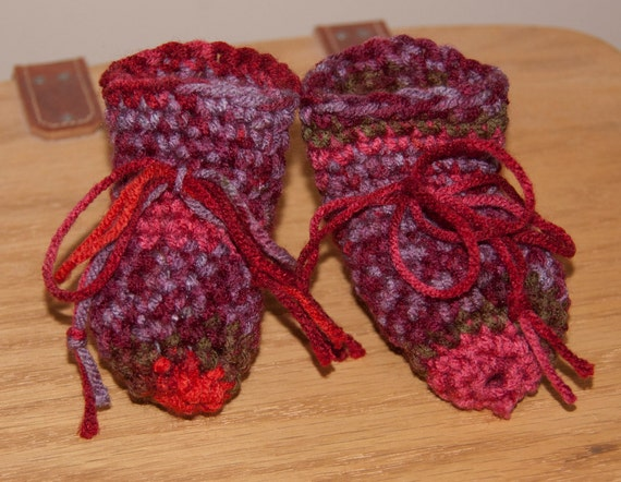 Red, Violet, Salmon and Green Striped Boot Booties with String Bow Ties FREE SHIPPING