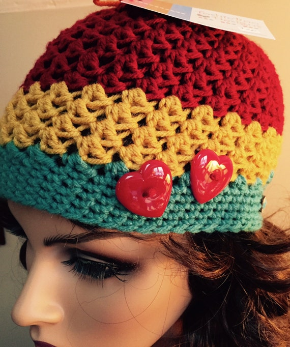 Red, Yellow, and Aqua, Hat with cute Red Heart Buttons
