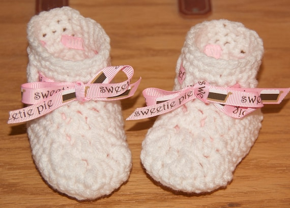 Booties in White with Sweetie Pie Ribbon Accents FREE SHIPPING