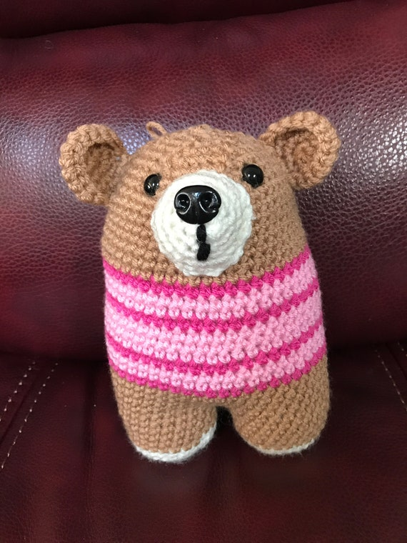 BrownTwo-legged Bear with Pink Sweater Stuffed Amigurumi Toy—FREE Shipping