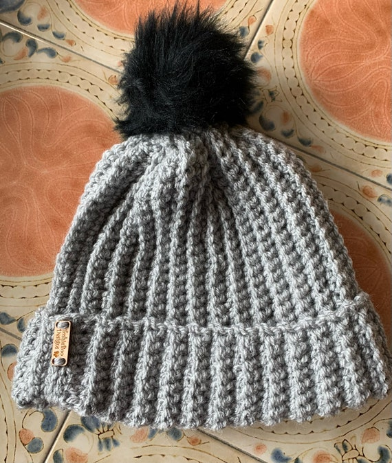 Medium Grey and Black Pom Pom Stocking Hat with Fingerless Mittens. FREE SHIPPING.