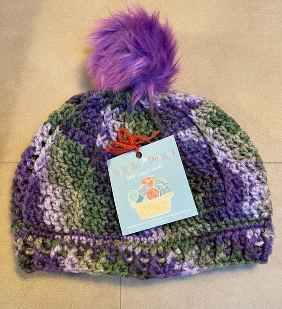 Purple and Green Pom Pom Hat. FREE SHIPPING.