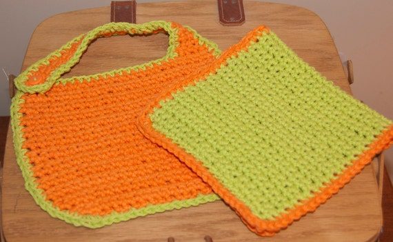 Bib and Burp Pad in Lime Green and Bright Orange Cotton Yarn FREE SHIPPING