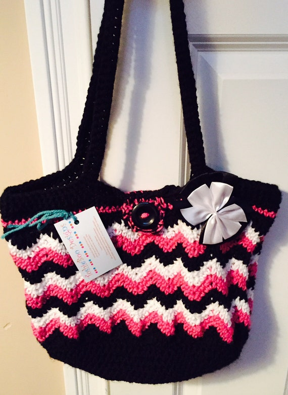 Beautiful Chevron Purse Crocheted in Soft Worsted in Hot Pink, Black and White with Ribbon Clip