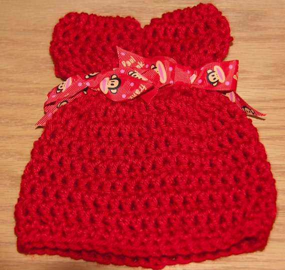 Ears Hat in Crimson Red Worsted Yarn with Paul Frank Sock Monkey Ribbon & FREE SHIPPING