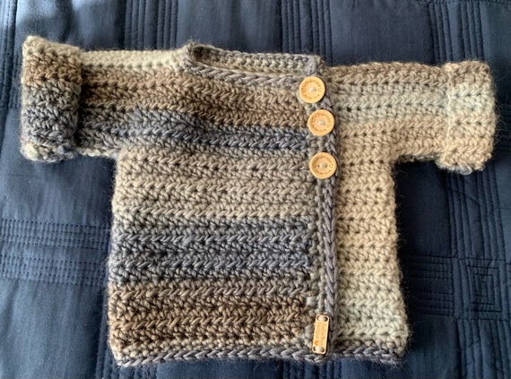 Neutral Heavy-weight  0-6 month Baby Wrap Sweater. FREE SHIPPING