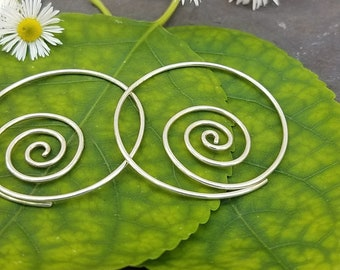Continuous Spiral Earrings in Sterling Silver - 18g / Standard