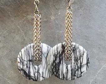 Zebra Jasper Disc Earrings - Ear Weights