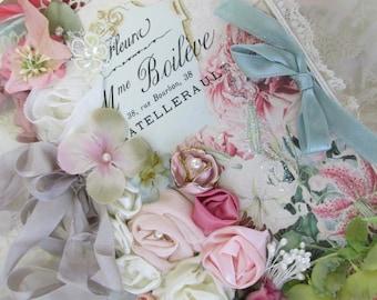 French Journal Mixed Media Art Journal Vintage Garden Art Book Shabby  Wedding Lace Book