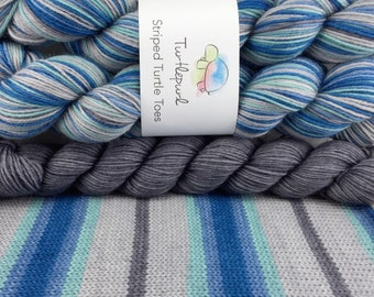 Winter's Coming - With Charcoal Grey Heel and Toe Skein - Hand Dyed Self Striping Sock Yarn - Ready to Ship by October 29th