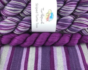 Crushed! - With Berry Heel and Toe Skein - Hand Dyed Self Striping Sock Yarn
