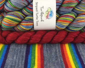 What Does It Mean? - With Red Heel and Toe Skein - Hand Dyed Self Striping Sock Yarn