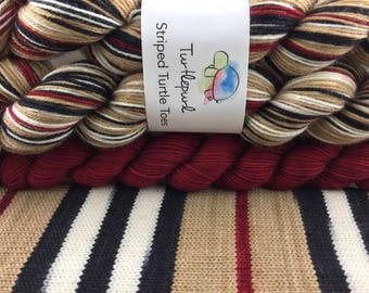 Trenchcoat - With Deep Red Heel & Toe Skein - Hand Dyed Self Striping Sock Yarn - Ready to Ship by November 3rd