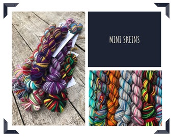 Mini Skeins - 100g total - Small Party Pack - Hand Dyed Self Striping Sock Yarn