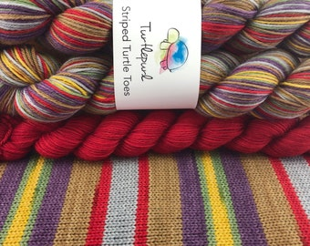THE Doctor - With Red Orange Heel and Toe Skein - Hand Dyed Self Striping Sock Yarn - Ready to Ship by October 1st